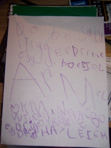 Hayleigh's letter to Santa. Hopefully he can decipher 5-year-old.