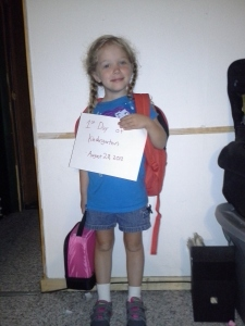 Ready for her first day of Kindergarten