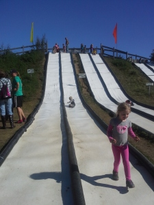 going down the big hill slide