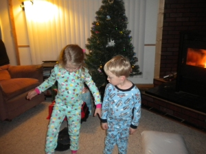 showing off their new pajamas