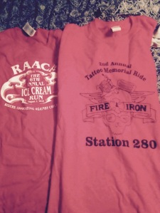 Shirts I got from last weekend's rides.