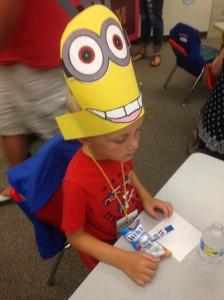 Minion hat he made at K-4 orientation
