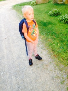 wearing last year's book bag until after his birthday(sept 3)