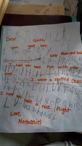 The boy's letter to Santa he wrote at school. Thankfully the teacher included a translation